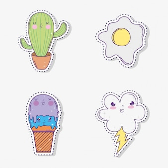 Set kawaii cactus with ice cream and cloud with rainbow