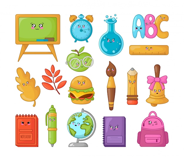 Set of kawaii cartoon school supplies, back to school