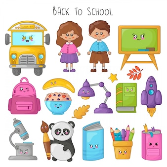 Set of kawaii cartoon school supplies, kids, students