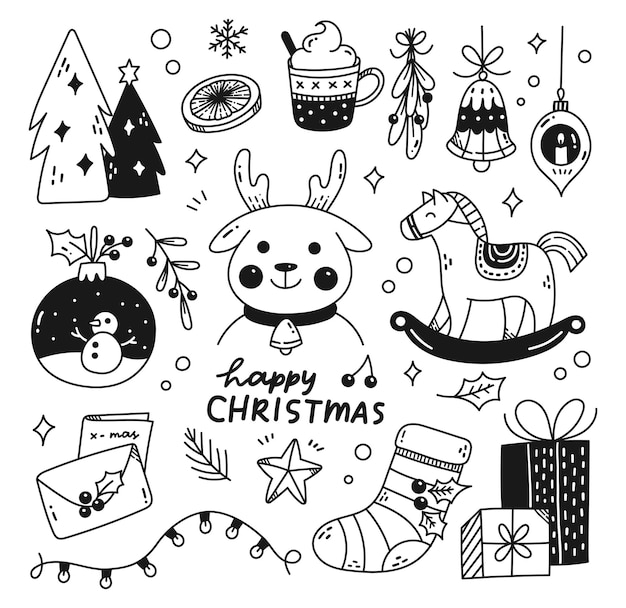 Set of kawaii christmas doodles vector