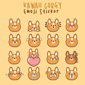 Set kawaii corgi dog cute faces eyes and mouths funny cartoon emoticon in in different expressions