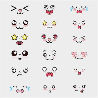 Set kawaii cute faces expression vector illustration