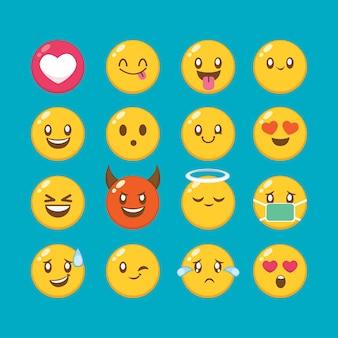カワイイかわいい顔の目と口を設定します。ソーシャルネットワークの表現のキャラクターと絵文字の顔のイラストのさまざまな表現で面白い漫画の絵文字