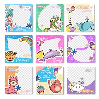 Set kawaii design discount sale promo backgrounds
