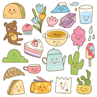 Set of kawaii doodles, cute stickers, fashion patches