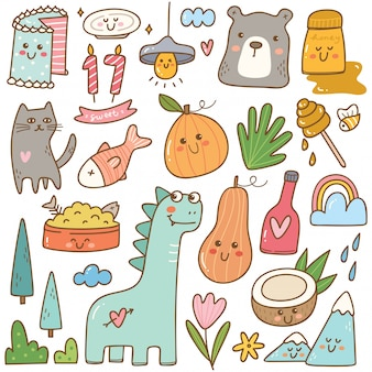 Set of kawaii doodles isolated on white