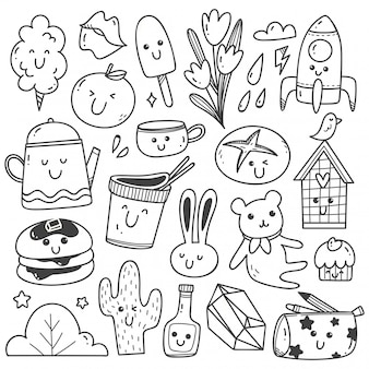 Set of kawaii doodles line art