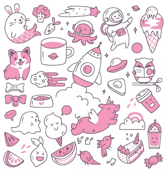 Set of kawaii doodles