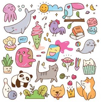 Set of kawaii doodles