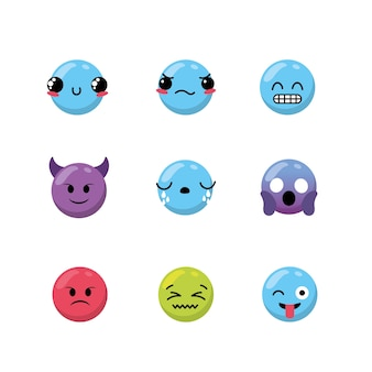 귀여운 이모티콘 감정 디자인 아이콘 설정