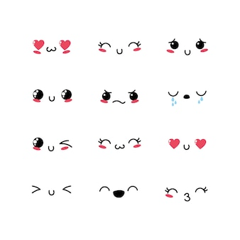 Set kawaii emoji emotion design icon
