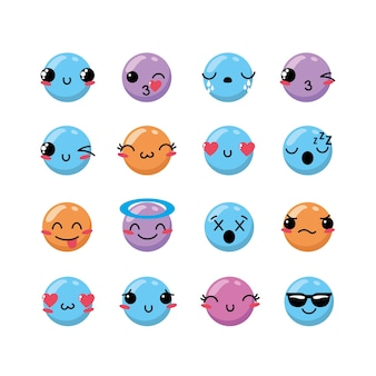 Set kawaii emoji значок эмоции дизайн