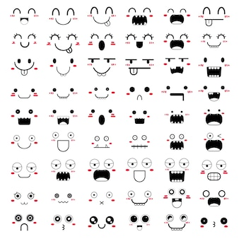 Set of kawaii face icon design.