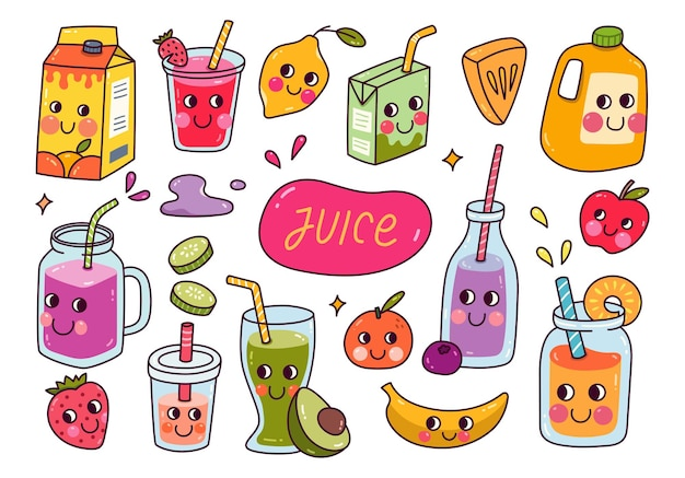 Set of kawaii fruit juice vector illustration