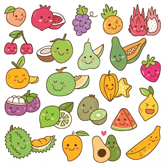 Set of kawaii fruits