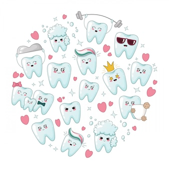 Set of kawaii healthy cartoon teeth with emodji