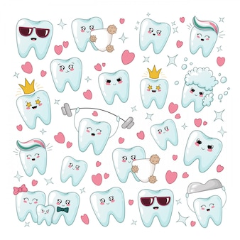 Set of kawaii healthy tooth with different emodji