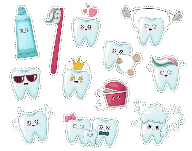 Set of kawaii kids stickers with tooth, toothpaste, toothbrush
