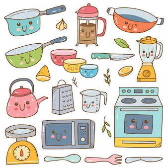Set of kawaii kitchen equipment set