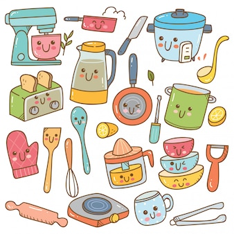 Set of kawaii kitchen equipment