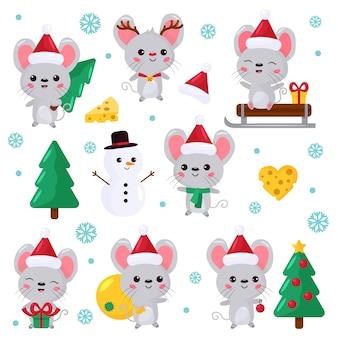 Set of kawaii mouse characters.
