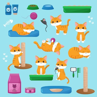 Set of kawaii red cats, toys, cat food and objects. cute cartoon kittens in different poses.