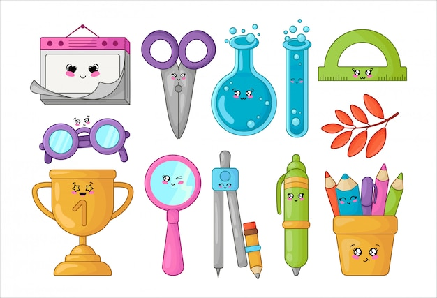Set of kawaii school supplies, back to school concept, cute cartoon characters