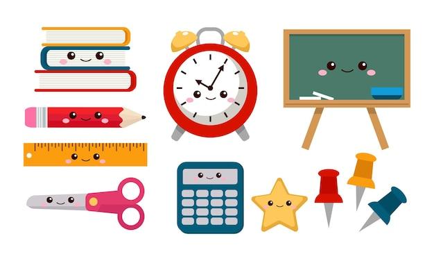 Set of kawaii school supplies stationery