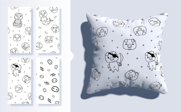 Set of kawaii seamless pattern with cute pigs