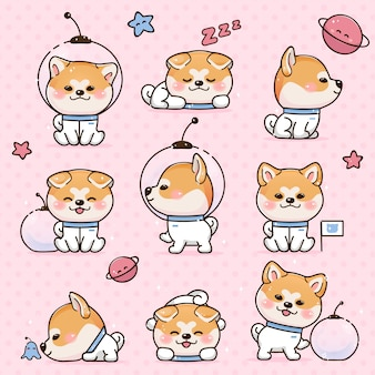 Set kawaii smile japanese dog akita inu cartoon
