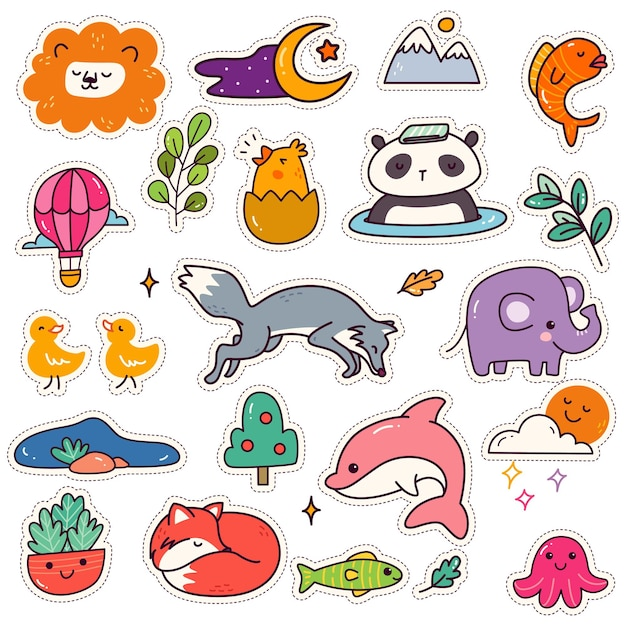 Set of kawaii sticker cute animal patches design