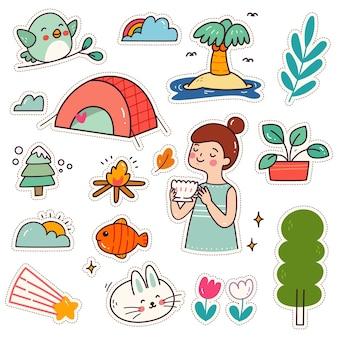 Set of kawaii sticker cute camping girl patches design