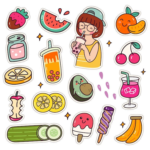 Set of kawaii sticker cute girl drink boba tea patches design