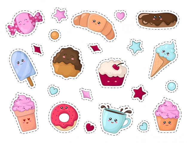 Set of kawaii sticker or patch with cartoon food