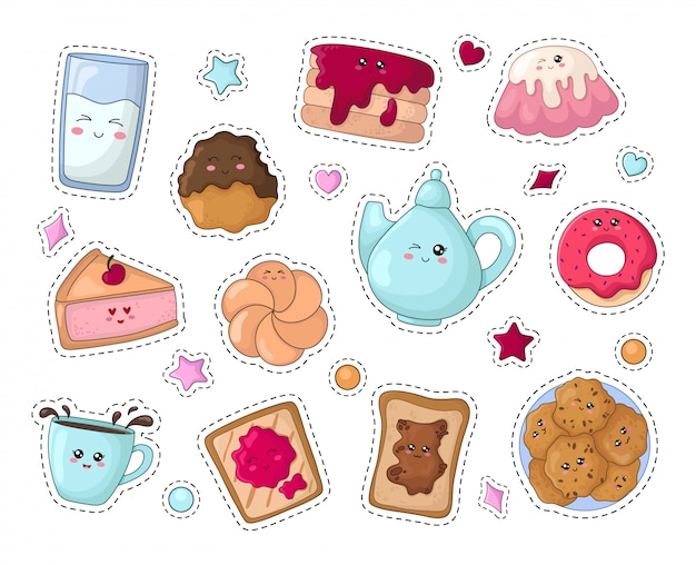Set of kawaii sticker or patch with food of