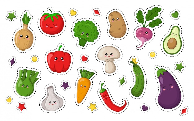 Set of kawaii sticker with food
