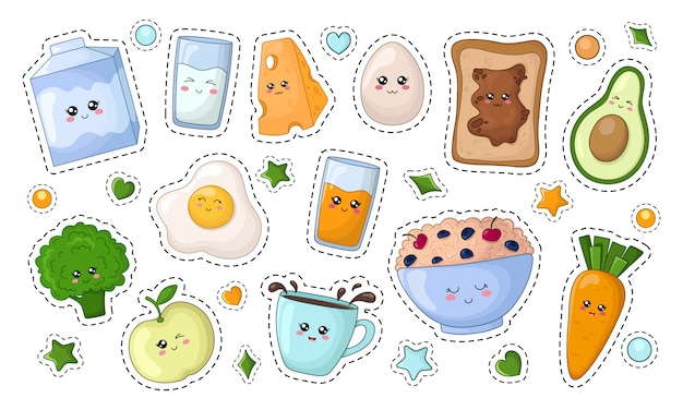 Set of kawaii stickers with diet food