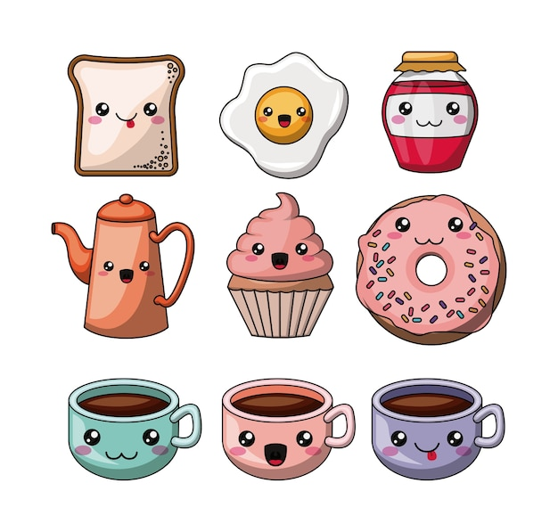 Set kawaii style food isolated icon design