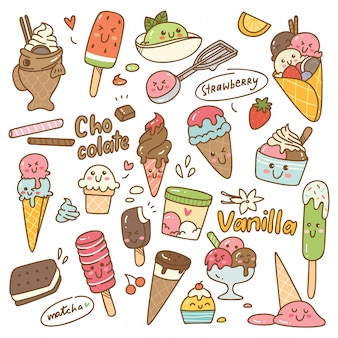 Set of kawaii style ice cream
