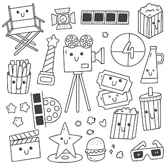 Set of kawaii style movie doodles line art