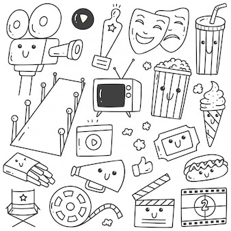 Set of kawaii style movie doodles line art