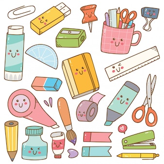 Set of kawaii style stationary