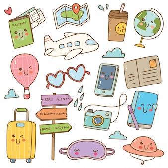 Set of kawaii style travel