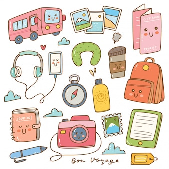 Set of kawaii style travel