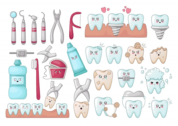 Set of kawaii teeth, dentistry tools, implants, with different emoji