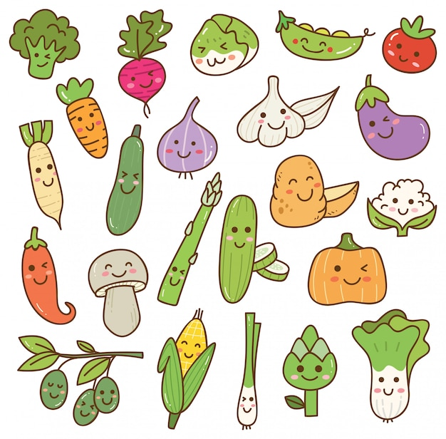 Set of kawaii vegetables