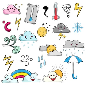 Set of kawaii weather with cute expression by using colored doodle style