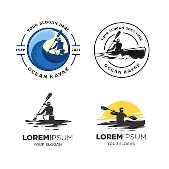 Set of kayak silhouette logo isolated on white
