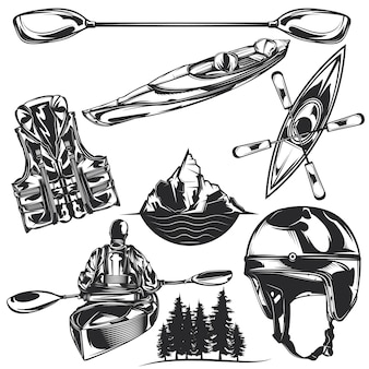 Set of kayaking elements for creating your own badges, logos, labels, posters etc