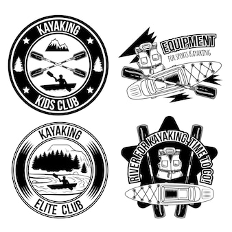 Set of kayaking vintage emblems